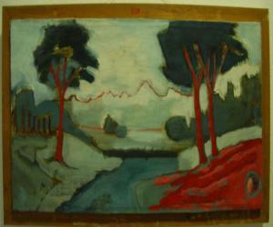 Rote Bäume am Fluss